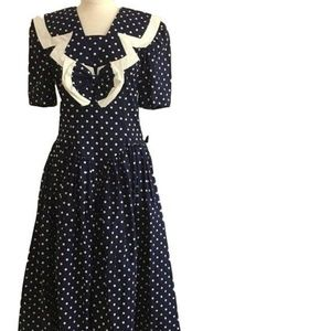 NWT Vintage 80's Blue & White POLKA Dot Dress